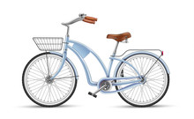 Vector Blue Bicycle Realistic 3d Isolated