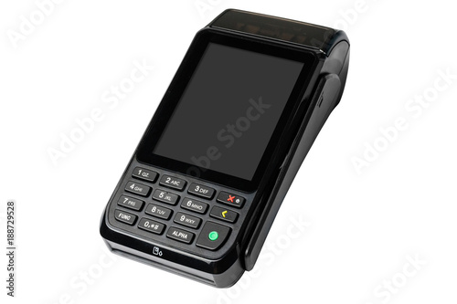 Fototapety, obrazy: POS payment terminal isolated on white