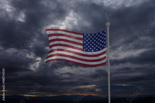 Fényképezés  Waving USA flag in the dark sky