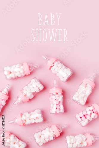 Decorative Baby Milk Bottles With Candy. Decorations For Baby Shower Party.  Flat Lay,
