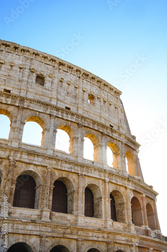 Printed kitchen splashbacks Historical buildings Colosseum Rome. Ruins of the ancient Roman amphitheatre. Travel to Italy, Europe. Crowd and queue. Sunny day and blue sky