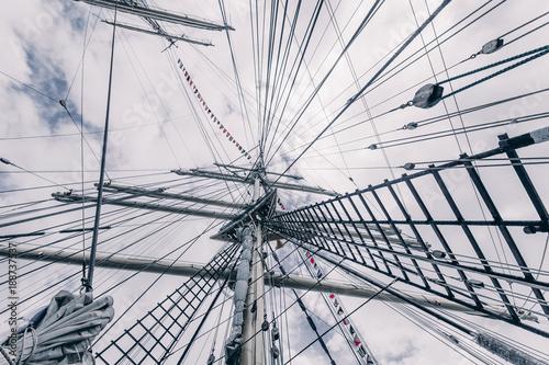 Obraz na plátně Old sailing ship mast