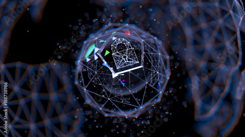 Fotografía  Abstract crypto cyber security technology on global network background