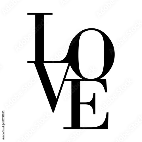 Fotomural Love typography text on white background for Valentines Day.