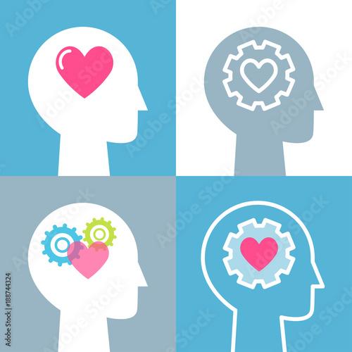 Fotografía  Emotional Intelligence, Feeling and Mental Health Concept Vector Illustrations S