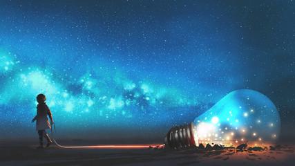 chłopiec wyciągnął dużą żarówkę w połowie zakopaną w ziemi przed nocnym niebem z gwiazdami i kosmicznym pyłem, cyfrowym stylem sztuki, obrazem illustraation