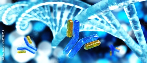 Fotografia  antibody and DNA helix, 3D rendering