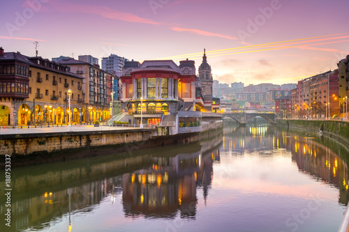 Fototapeta  view of ribera market at morning in Bilbao, Spain