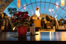 Beautiful Restaurant Setup With Poinsettia (Christmas Star) Flower Decoration
