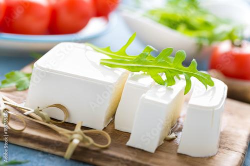 Feta cheese on board