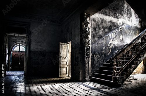 Old abandoned house interior. Wallpaper Mural