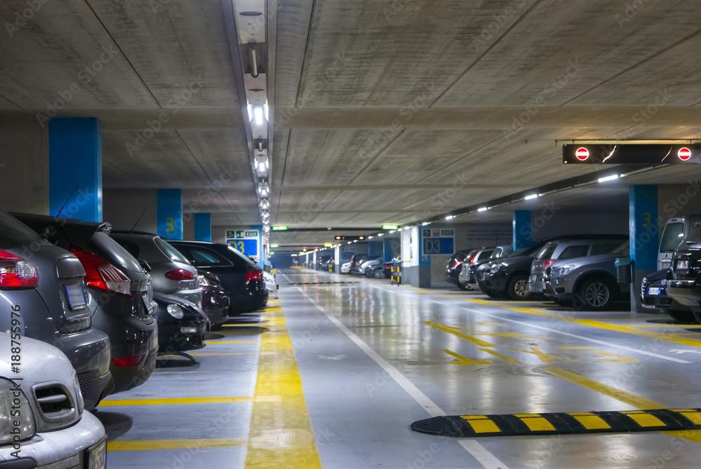 Fototapeta Large multi-storey underground car parking garage