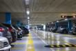 canvas print picture - Large multi-storey underground car parking garage