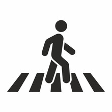Pedestrian Crossing Icon. Zebra Crossing. Vector Icon Isolated On White Background.