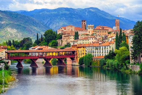 Fotografie, Obraz  Bassano del Grappa Old Town and Ponte degli Alpini bridge, Italy