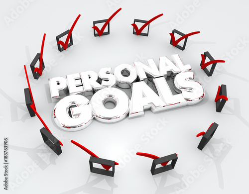 Obraz Personal Goals Check Marks Boxes Achieve Success 3d Illustration - fototapety do salonu