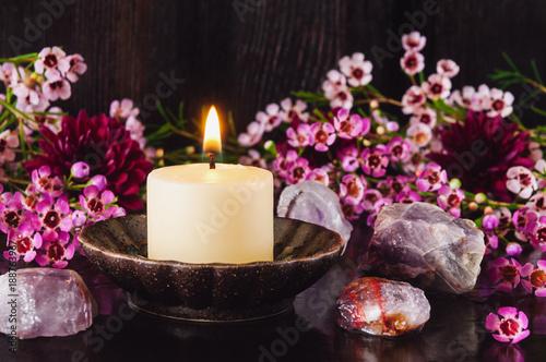Fotografia, Obraz  White Candle with Amethyst