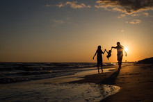 Family Beach Silhouette