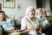 Senior People Watching Televis...
