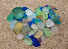 Colorful Seaglass Arranged In ...