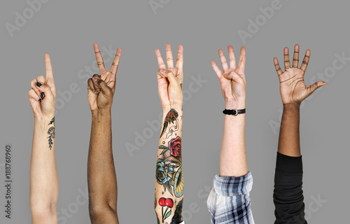Fotografie, Tablou  Diversity hands with numberic sign