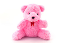 Pink Teddy Bear Doll On White ...