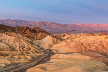 Colorful Sunrise Over Zabriskie Point In Death Valley, California, United States