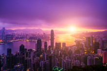 Hong Kong City Skyline At Sunrise. Hongkong Skyscraper View From The Peak