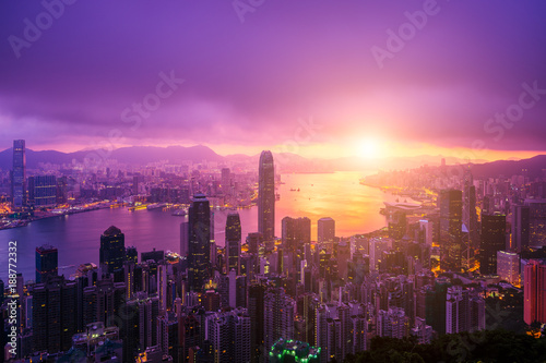 Photo  Hong Kong City skyline at sunrise