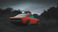 Orange, Lowered Retro Car
