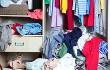 Wardrobe With Messy Clothes, C...