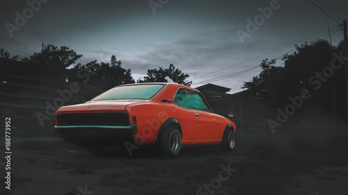 Poster Vintage voitures orange, lowered retro car