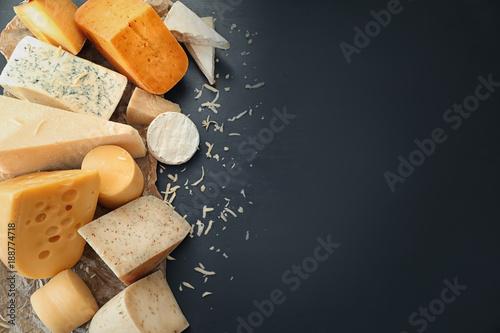 Fototapeta Variety of cheese on dark background obraz