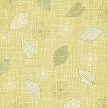 Lovely Linen Textured Weave With Vintage Leaves In A Soft Color Palette Of Green And Gold. Retro Style Inspired By Mid-century Modern Fabrics