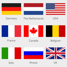 Flags Icon Set. Round National Symbol Of USA, UK, Holland, The Netherlands, Germany, Italy, Canada, France, Russia And Belgium. Vector Illustration.