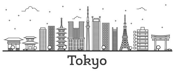 Fototapeta Outline Tokyo Japan City Skyline with Modern Buildings Isolated on White.
