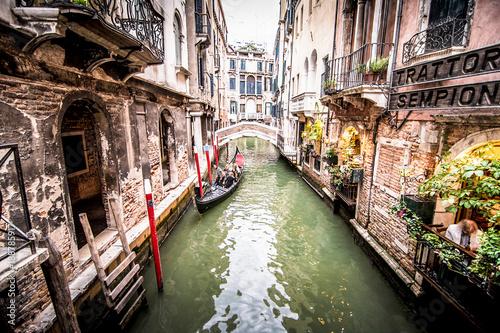 Spoed Fotobehang Gondolas Landscape in Venecia