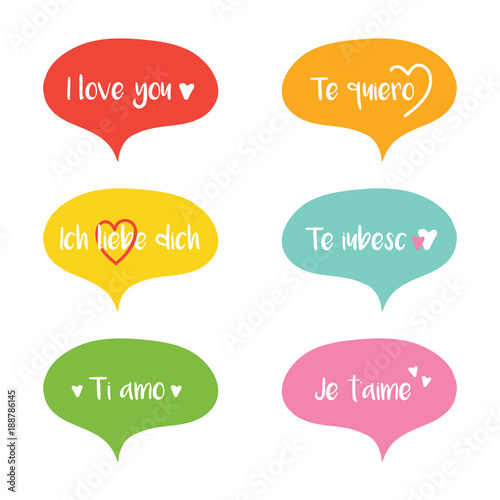 cute colorful vector cartoon speech bubbles with words i love you in different languages