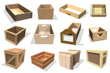 Box Package Vector Wooden Empt...