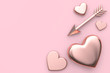 canvas print picture - blank space heart and arrow love valentine concept 3d rendering