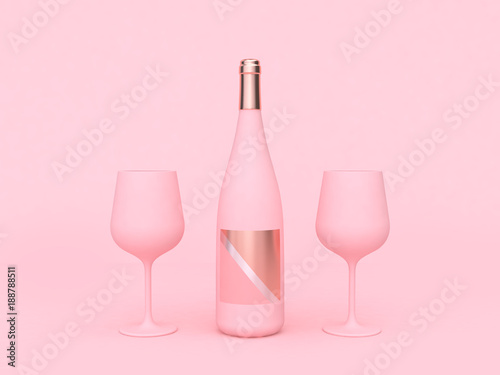 Foto op Canvas Alcohol wine glass wine bottle pink abstract love valentine concept 3d rendering