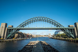 Tyne Bridge, an arch bridge over the River Tyne in North East England, linking Newcastle upon Tyne and Gateshead. With Gateshead Millennium Bridge on background
