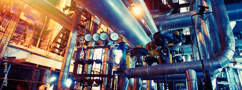Fotografia  Industrial zone, Steel pipelines, valves and pumps
