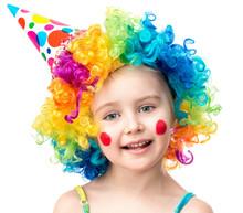 Little Girl In Clown Wig Isola...