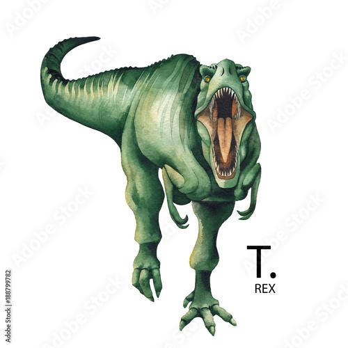 Fotografie, Obraz  Realistic watercolor dinosaur