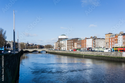 Photo  DUBLIN, IRELAND - March 31, 2017: Dublin City Center and river Liffey,Ireland