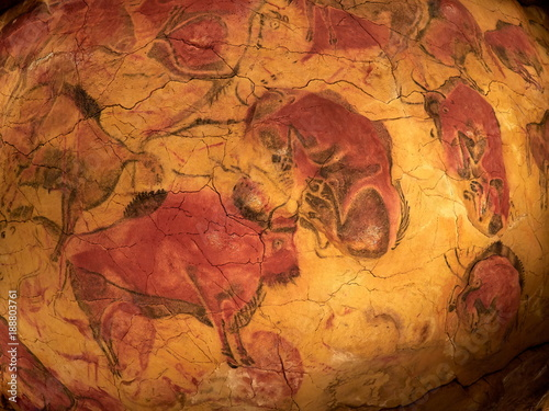 the drawings from the ceiling of Altamira cave in Santillana Del Mar, Cantabria, Spain