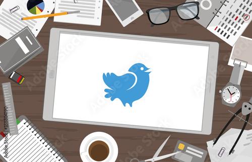 Fotografie, Obraz  Schreibtisch mit Tablet - Twitter