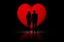 Coppia Innamorati Con Cuore Ro...