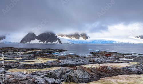 Photo Stands Antarctic Rocky coastline panorama with mountains and blue glaciers hidden in clouds, Peterman island, Antarctic peninsula